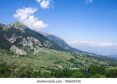 Natural green landscape with mountain peak, Majella, Abruzzo, Italy.