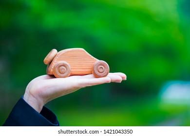 Natural green and wood car