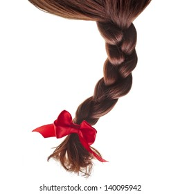 natural hair braided with red ribbon bow isolated on white background