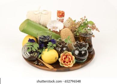 Natural Hair Dye ; Henna leaves, Butterfly Pea flowers, Clove, Aloe Vera, Tea, Lemon treatment