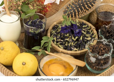 Natural Hair Dye ; Henna leaves, Butterfly Pea flowers, Clove, Aloe Vera, Tea, Lemon, yolks and yogurt treatment.