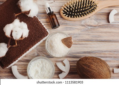 Natural hair treatment with coconut butter. Spa set with homemade mask. Top view
