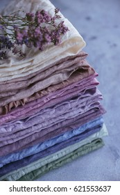 Natural hand-dyed fabrics, Linen, Stack of fabric, Pastel colors