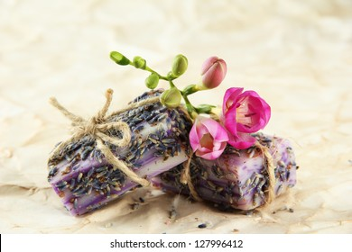 Natural handmade soap, on beige background