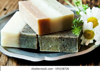 Natural Handmade Soaps with Herbal Extracts, Clay and Chamomile