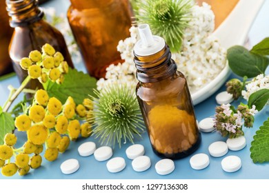 Natural healing alternative medicine and fresh herbs
