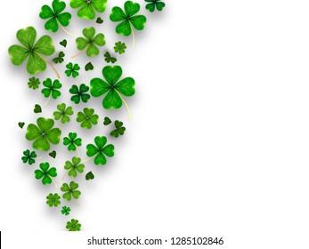 natural hearth shape four green good luck clover Shamrock leaf spring Saint St. Patrick on white background.