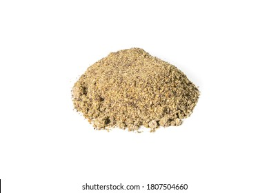 Natural hemp flour isolated on white backgroynd. Front views, close-up.