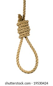 Natural hemp rope tied into a hangman's noose.