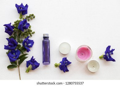 natural herbal oils from blue flowers butterfly pea local flora of asia smells scents aroma on background white