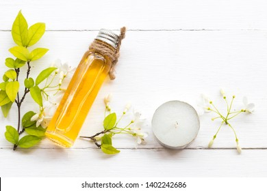 natural herbal oils extract white flower mok local flora of asia  smells scents aroma arrangement flat lay style on background white