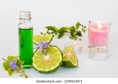 natural herbal oils from vegetarian kaffir lime local of asia smells scents aroma therapy on background white