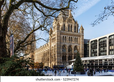 Natural History museum in winter, London, England