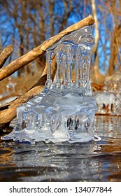 Natural ice sculptures along the Kishwaukee River in northern Illinois