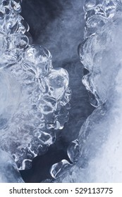 Natural ice sculptures along the river