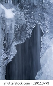 Natural ice sculptures along the waterflow