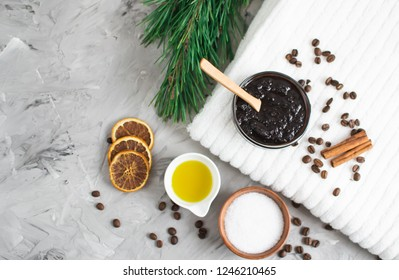 Natural Ingredients for Homemade Body Chocolate Coffee Sugar Salt Scrub Oil Beauty SPA Concept Body Skin Care Christmas Party New Year