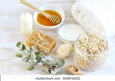 Natural Ingredients for Homemade Body Face Scrub Oat Honey Milk. Beauty Concept. SPA