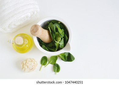 Natural Ingredients for Homemade Body Face Mask Scrub Green Spinach. Beauty Concept. SPA
