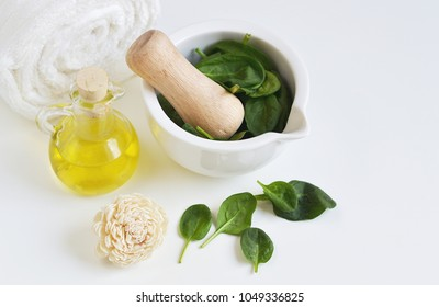 Natural Ingredients for Homemade Body Face Mask Scrub Green Spinach Olive Oil Sea Salt. Beauty Concept. SPA. Exfoliation Facial Face
