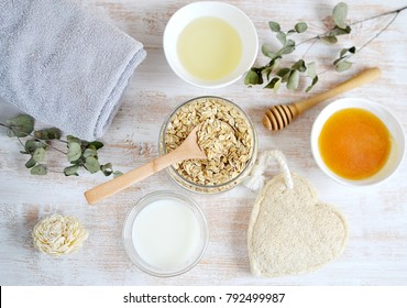 Natural Ingredients for Homemade Body Face Scrub Oat Oil Milk. Beauty Concept. SPA. Love Your Body