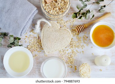 Natural Ingredients for Homemade Body Face Scrub Oat Olive Oil Milk. Beauty Concept. SPA. Love Your Body Heart