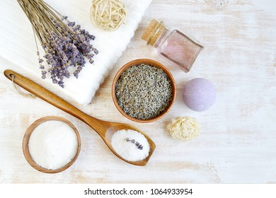 Natural Ingredients for Homemade Body Foot Face Lavender Salt Scrub Oil Beauty Concept