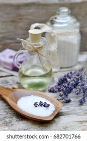 Natural Ingredients for Homemade Body Lavender Salt Scrub Soap Oil Beauty Concept
