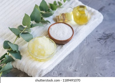 Natural Ingredients Homemade Body Sea Salt Scrub with Olive Oil Honey Milk White Towel Beauty Concept Skin Care Organic Aroma Spa Therapy