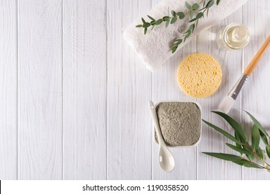 Natural ingredients for homemade facial and body mask or scrub. Spa and bodycare concept. Top view
