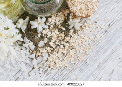 Natural ingredients for homemade facial and body mask (scrub)