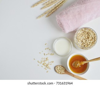 Natural Ingredients for Homemade Oat Body Face Milk Scrub Salt Oil Beauty Concept Organic Eco Healthy Lifestyle