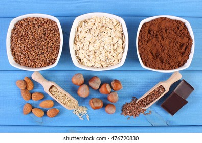 Natural ingredients or products containing magnesium and dietary fiber, healthy food and nutrition