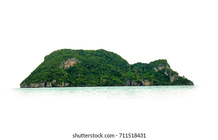 Natural island abundant Full of green trees cover in ocean. Where sea water surrounds. Isolated on white background.