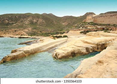 natural jetty, Fossils of tertiary sediments, sandstones, calcarenites and limestones of Tortonian algae, reef limestones of the Mesinian, in the Playazo, Natural Park of Cabo de Gata, Almería, spain,