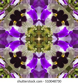 Natural kaleidoscope with natural motives of purple flowers