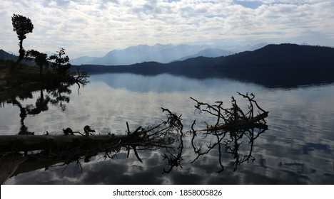 Natural lake of Rara with tree.