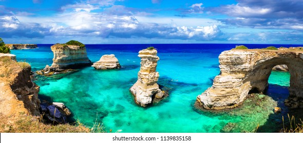 "Natural landmarks and best beaches of Puglia. ""Torre di Sant Andrea"" near Otranto. Italy"
