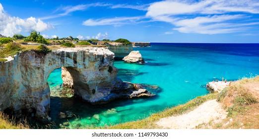 "Natural landmarks and best beaches of Puglia. ""Torre di Sant Andrea"" near Otranto. Italy"