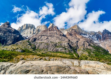 Natural landscape with beautiful mountains on the shore of Grey Lake at Torres del Paine National Park in Southern Chilean Patagonia, Chile