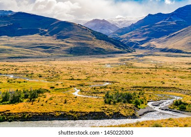 Natural landscape of Los Glaciares National Park with high mountain and river at El Chalten, Argentina