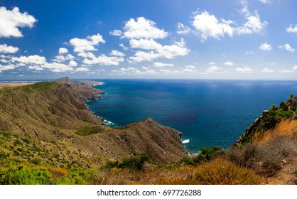 Natural landscape with sea and mountains in Spain on the Costa Calida, Murcia