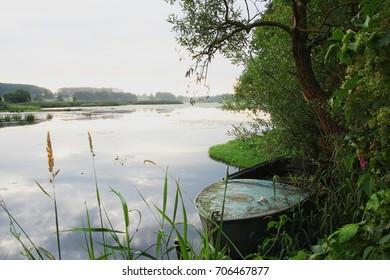 Natural landscape summer morning on the Belorussian river Olshanke