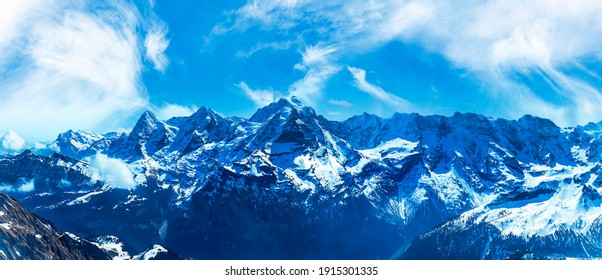 Natural landscape of the Swiss Alps, as a mountain panorama