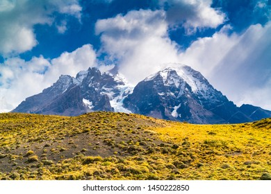 Natural landscape of Torres del Paine National Park in Chilean Patagonia in the sunny day