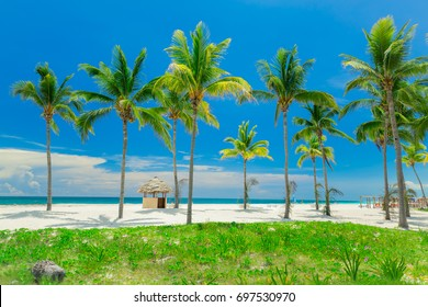 natural landscape view, beautiful inviting tropical white sand beach and ocean on sunny day at Cuban Cayo coco island