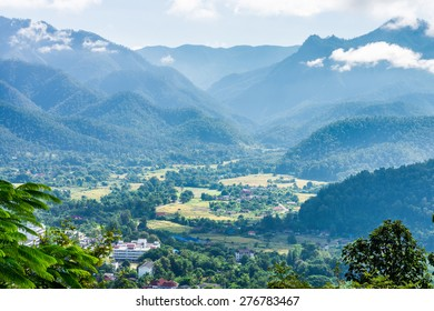 The natural landscape view of Mae Hong Son Province from mountaintop in Northern Thailand