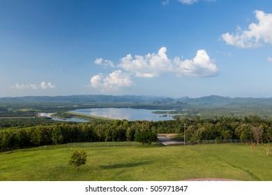 Natural landscape view at Reservoir maekham. , maemoh , lampang