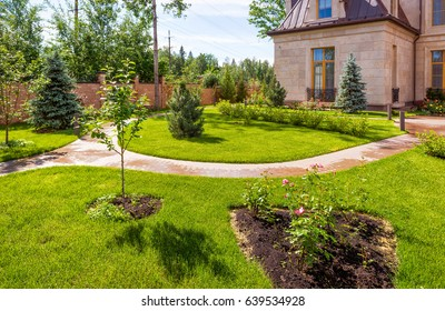 Natural landscaping in home garden. Beautiful landscaped garden in summer. Backyard with the paving pathway and flowers. Winding path in house yard in sunlight.