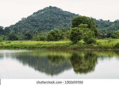 Natural lanscape of green trees in meadow near moutain with skyline reflection on the pond in Nakhon Nayok Province, Thailand